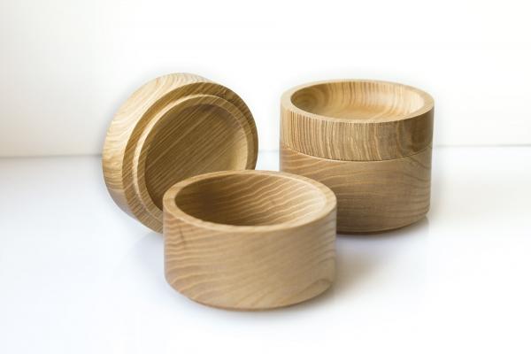 Stapeldose aus Holz  - 3er SET